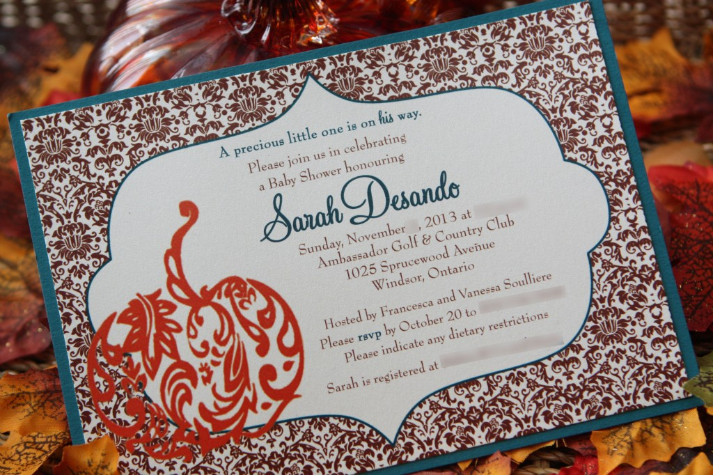 Sarah's damask baby shower invitation with teal