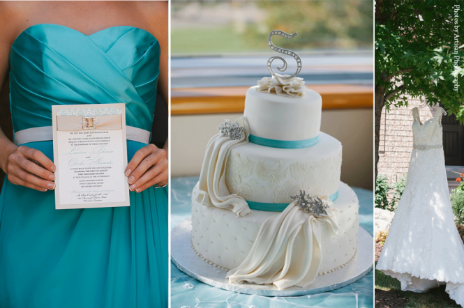 Tiffany blue-champagne wedding