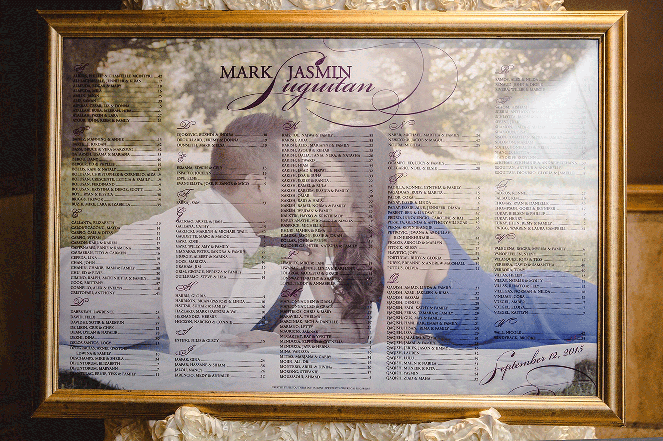 Framed Photo Seating Chart
